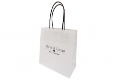 chocolate shop simple logo printed small white kraft paper bag