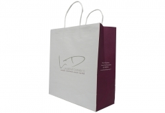 Restaurant food take out white kraft paper bag