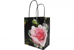 pretty luxury design boutique shopping white kraft paper bag with gloss varnish