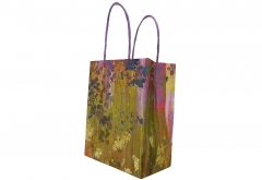 painting style grocery shopping white kraft paper bag with purple twisted handle