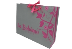 luxury apparel shopping bag art paper with ribbon on top