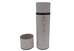 pretty custom logo round paper tube with metal lid for wine