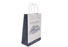 FSC white kraft twisted handle carrier bags