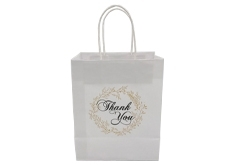 FSC white kraft paper gift bag with twisted paper handle