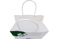 Small and big size simple design White kraft paper bag-handle view