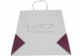 Restaurant food take out white kraft paper bag-back view