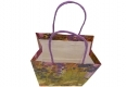 Painting style grocery shop white kraft paper bag with purple twisted handle- handle side view