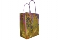 Painting style grocery shop white kraft paper bag with purple twisted handle- side view2