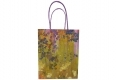 Painting style grocery shop white kraft paper bag with purple twisted handle-front side view