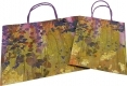 Painting style grocery shop white kraft paper bag with purple twisted handle- 2 size