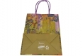 Painting style grocery shop white kraft paper bag with purple twisted handle- back side view
