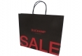 Simple style Boutique brown kraft paper bag with black handle-side view