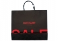 Simple style Boutique brown kraft paper bag with black handle-back side view