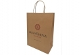 Promotional brown paper bag with custom design-side view