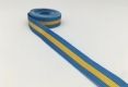 Polyester grosgrain ribbon dyed custom blue and yellow