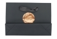 Custom logo stone paper bagwith foil stamping and ribbon